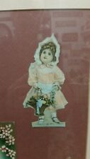 Antique victorian gilted picture frame pink paperdolls postcards roses flowers
