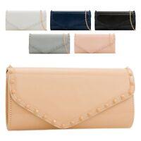 Ladies Studded Patent Envelope Clutch Bag Shiny Evening Bag Party Handbag KL2310