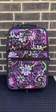 "VERA BRADLEY Retired Purple Punch 21"" Rolling Expandable Suitcase Luggage EUC"
