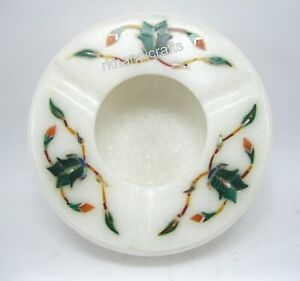 3.5 Inches Marble Ashtray Inlay Gemstones Smoke Ashtray Holder Bar Accessories