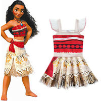 Girls Kid Moana Costume Hawaiian Princess Fancy Dress Cosplay Party Outfit 3-10Y