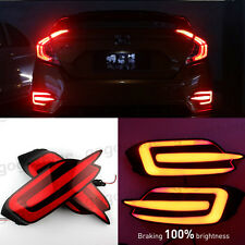2pcs LED Rear Bumper Reflector DRL Fog Brake Lights Set For Civic 2016 2017