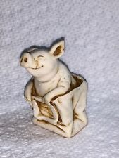 Harmony Kingdom Artist Neil Eyre Designs baby pig piggy pigs in poke bag Ivory