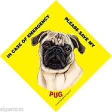 Save My Pet 5x5 Waterproof Emergency Rescue Sign - Pug (Fawn) Tan