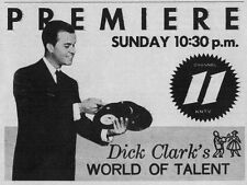 "1959 tv ad ~ Dick Clark Host's ""World of Talent"" Premiere on KNTV in San Jose,Ca"