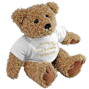 Personalised Teddy Wedding Ring Bearer  - Gold Ribbon Personalised Ring Cushion