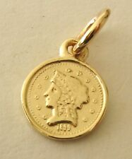 SOLID  9K  9ct  YELLOW  GOLD  SMALL  1899  COIN  CHARM/PENDANT