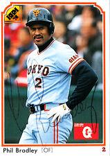 Phil Bradley 1991 BBM Japanese Yomiuri Giants SIGNED CARD AUTOGRAPHED