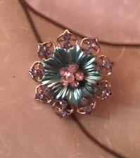 Silver Tone And Blue Rhinestone Flower Brooch