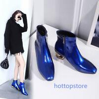 Gr.35-48 Große Größe Damen Stiefelletten schwarz blau rosa Lackleder Schuhe Neu