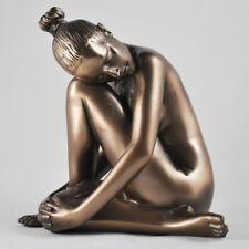 Tranquil Naked Figure Art Deco Neuvou Sculpture Bronze Erotic Statue H14cm 01108