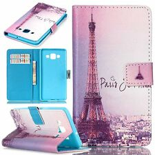 PU leather Cell phone case stand wallet cover retro pattern effiel tower flip