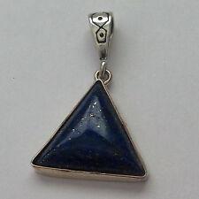 Sterling Silver Handmade Triangle Lapis Stone Pendant