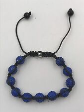 10mm Shamballa Beaded Adjustable Bracelet Genuine Blue Hand Set Crystals