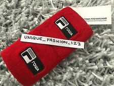 GOSHA RUBCHINSKIY FILA SPORTS SWEATBAND WRIST 1984 FLAG SCRIPT BOX LOGO SS17 RED
