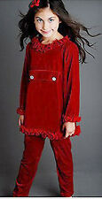 NWT size 5 Greggy Girl GORGEOUS Boutique RED Velour Pant & Tunic TOP Outfit 5