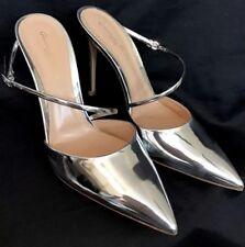 9baf56e266c Gianvito Rossi Shoe Speccio Silver Leather Mule Pointed Toe Size 40 1 2 New