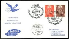 More details for luxembourg 1957 first flight cover   europa - posted to salzburg   sg.626/627