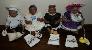 """Lot of 4 Daddy's Long Legs Doll ABC Babies 5.5"""" Rare w/Toy Bag No Box"""