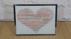 Personalised word art Engagement, Glass Plaque Keepsake Unique Gift