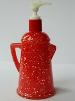 Avon Vintage Country Style Red Coffee Pot Soap Lotion Dispenser Bottle