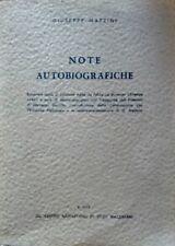 GIUSEPPE MAZZINI NOTE AUTOBIOGRAFICHE CENTRO NAPOLETANO DI STUDI MAZZINIANI 1972