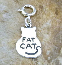 """Sterling Silver """"Fat Cat"""" Charm with Spring Ring for Charm Bracelets-3338"""