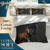 Pony Horses Running Animals Black Duvet Cover Set with Zipper n Pillowcase