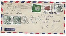 Seoul Korea Airmail to Coeur d' Alene Idaho, Five Stamps
