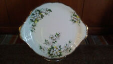 Royal Albert England White Dogwood Pattern Bone China Handled Cake Plate
