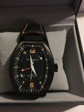 Montres De Luxe Mens GMT Estremo Black orange Tonneau Leather Watch NEW