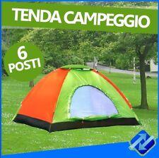 TENDA CAMPEGGIO CANADESE 6 POSTI MARE CAMPING ZANZARIERA SACCA TRASPORTO GITE