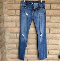 Levi's Mens Jeans 511 Slim Fit Sz 32 x 32 Denim Blue Tapered Leg Distressed Rips