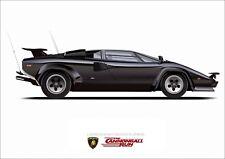 Lamborghini Countach Cannonball Run Film illustration A3