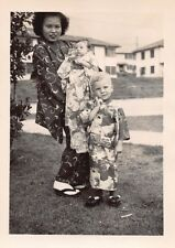 JAPANESE AMERICAN FAMILY WOMAN BABY BOY KIMONO SANDALS TRADITIONAL DRESS PHOTO