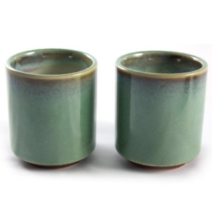 Pair of Japanese Stoneware Tea Cups - Earthy Green & Brown