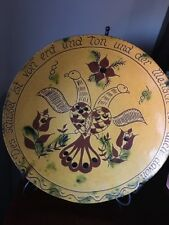 Redware Breininger Pottery Plate Charger Pa Dutch Folk Art Design