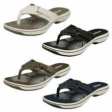 Ladies Clarks Brinkley Sea Slip on Toe Post Side Touch Fastener Flip Flop Sandal