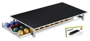 Nespresso Coffee Pod Holder - 40 Capsule Metal Storage - Stand Silver/Grey