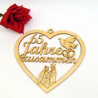 Jubiläum 65 Jahre zusammen, Eiserne Hochzeit, Taube, Eheringe Holz 21 cm