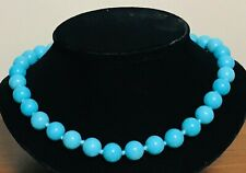 """NEW 400ct 12mm Howlite Turquoise Blue Large Knotted Bead 18"""" - 20"""" Necklace"""