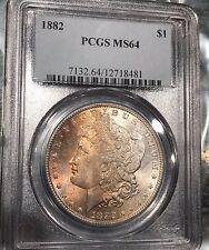 1882 P MS 64 PCGS MORGAN SILVER DOLLAR  BEAUTIFUL TONING  P73