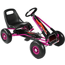 Pedal Go Kart Kids Childrens Ride On Car Racing Toy Rubber Tyres Wheels in Pink