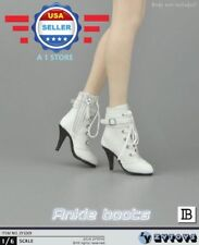 """1/6 scale Leather Ankle Boots WHITE color HOLLOW for 12"""" Female Figure PHICEN"""