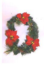 LARGE 45 cm CHRISTMAS WREATH POINSETTIA's GOLD  + HOLLY