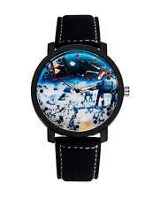 Big Dial Star Wars Space Leather Strap Wristwatch Black Trek Wrist Watch W13 C