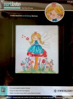 Zweigart Counted Cross Stitch Kit Fairy Princess Girl Mushroom Scene 14-ct Aida