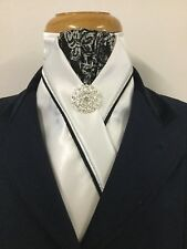 HHD White Satin Dressage Pre-tied Show Stock Tie Paisley Black Silver Piping Pin