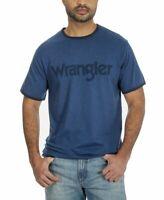Wrangler Mens Shirt Navy Blue Logo Graphic Print Ringer Crewneck Tee All Sizes