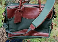 VTG Orvis Battenkill Brown Leather Green Canvas Padded Briefcase USA 17x12.5x6